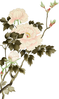Japanese style style button flower, with leaves and branches