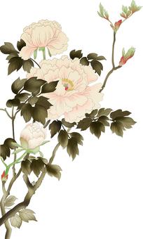 일본 화풍 버튼의 꽃, 잎 가지 대해서