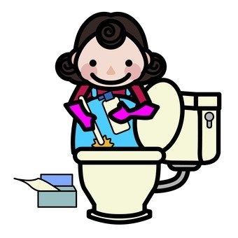 Mom cleaning the toilet