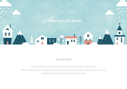 Winter background frame 011 Snow town watercolor