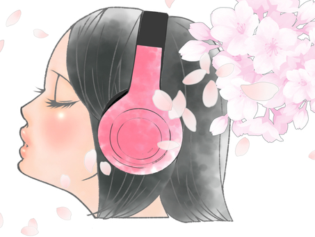 Headphone girl and cherry blossoms