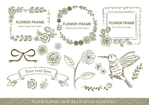 Hand-drawn wind froral frame