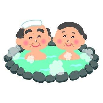 A couple entering a hot spring