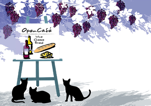 Open cafe coffee and wine and cats 3