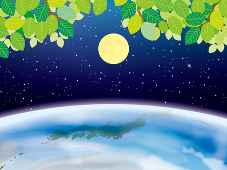 Four seasons image of the earth (2) Fresh green of the moon and summer