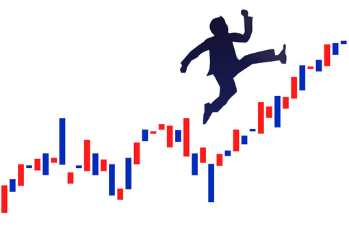 Exchange chart and jumping businessman