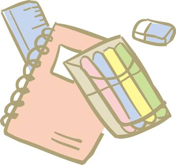 Stationery, writing instruments, eraser