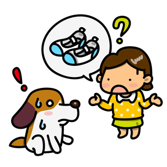 Illustration of a dog to be shot with a girl looking for shoes