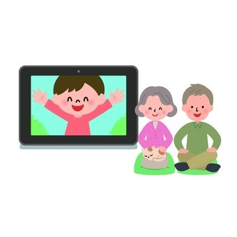 Men and women communicating with grandchildren and tablets