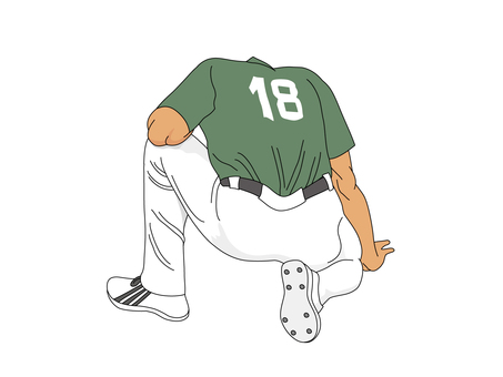 Squatting pitcher