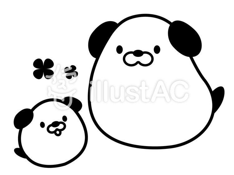 かわいい犬の親子白黒イラスト No 無料イラストなら イラストac