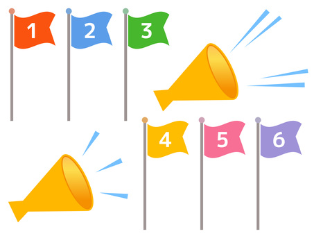 129. Flag, megaphone yellow