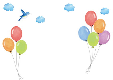 Watercolor balloons and birds background