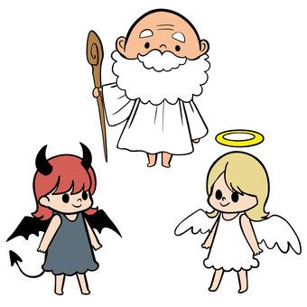 Angel, devil and god set