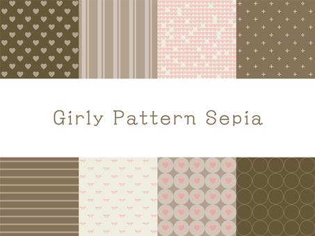 Girly pattern sepia