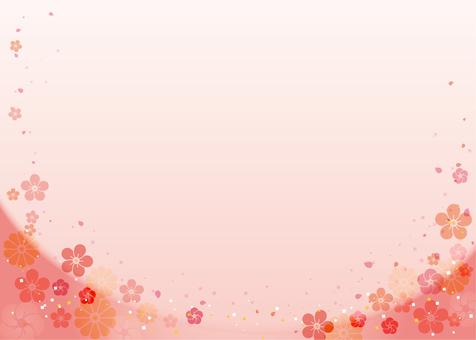 Japanese style background (plum, chrysanthemum) Pink