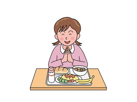 女孩吃午餐