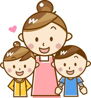 父母和孩子(母親和女兒的兒子)_ A 03 [粉彩]
