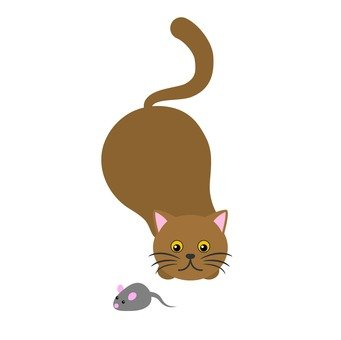 A cat aiming at a mouse