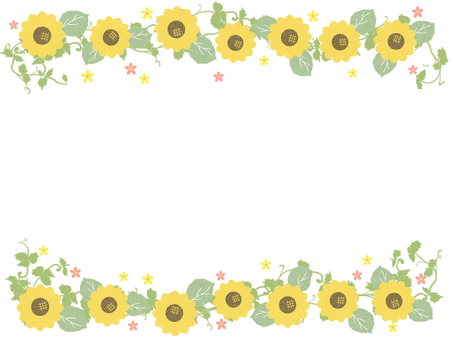 Cute sunflower and flowers frame