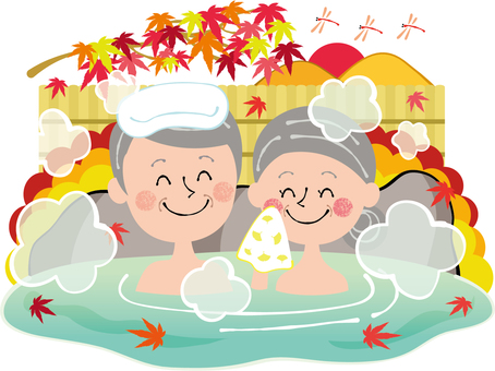 Autumn hot spring Autumn leaves red dragonfly sunset elderly people smile