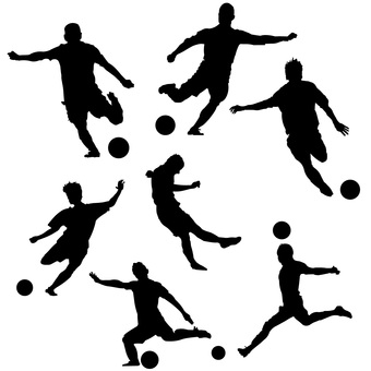 Soccer illustration set silhouette