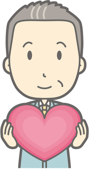 Middle-aged man work clothes - Heart - Bust
