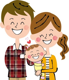 Family parent and child baby girl hug holding smile