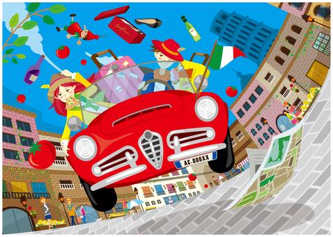 イタリアドライブ旅行(イラレVer)