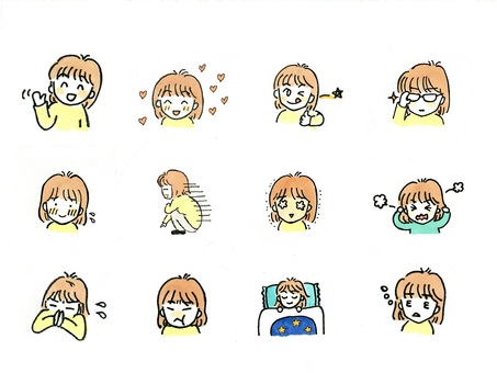Girl illustration Facial expression various