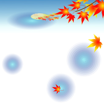Autumn moonlit - background of autumn leaves and moon (white)