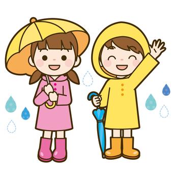 Child wearing a raincoat