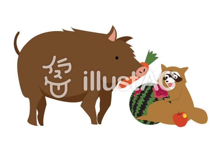 畑の作物を荒らす害獣のイラストのイラスト