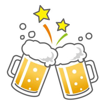 与一个啤酒杯Kanpai