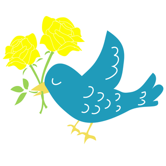 Yellow roses and blue birds