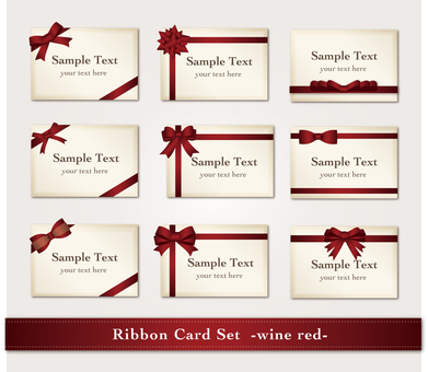 Set of cards with ribbon (wine red)