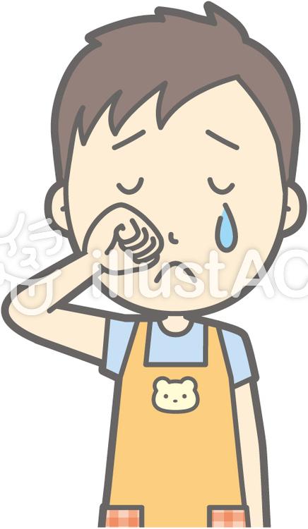 保育士男性-泣く-バストのイラスト