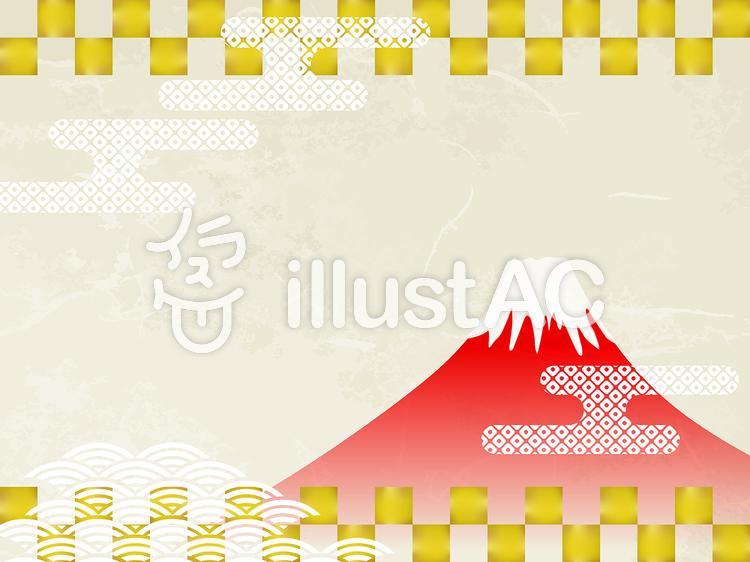 年賀状素材-和紙富士のイラスト