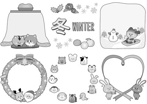 冬イラストフレーム/モノクロ