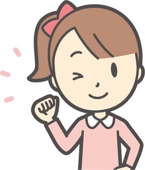女孩粉紅色長袖-048胸圍
