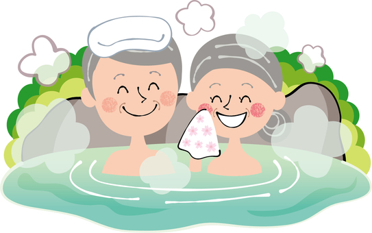 Rock bath family hot spring entering elderly couple elderly people smile