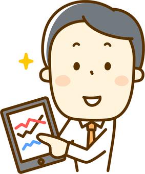 A salaryman who operates a tablet