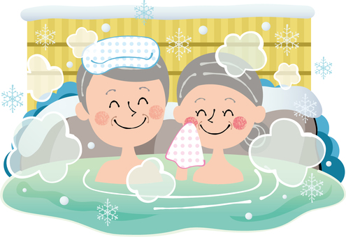 Winter hot spring travel elderly people snowflake rock bath smiley