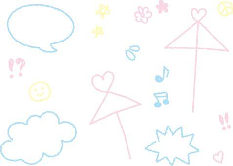 Chalkboard doodle style set