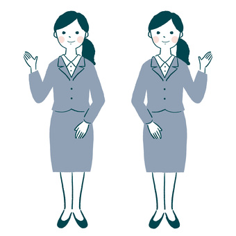 Suit woman full body guidance pose