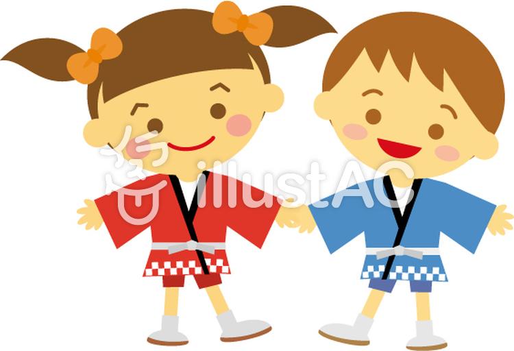 はっぴの子どもたち 夏祭りイラスト No 422627無料イラストなら