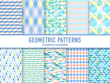 A set of geometric patterns (colorful)