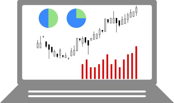 Stock chart graph laptop