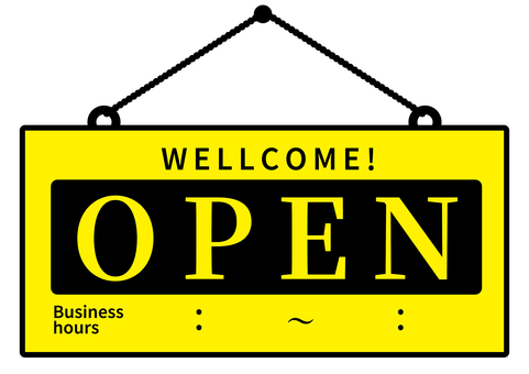 Opening Signboard OPEN Opening time