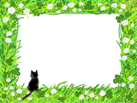 Wild grass frame (black cat version)